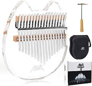 Kalimba 17 Keys, AKLOT Transparent Acrylic Thumb Piano Note Carved Starter Finger Piano with Kalimba Case Tune Hammer Stud...