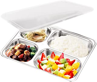 AIYoo 304 Stainless Steel Divided Plate with Lid for Toddler Kids Bento Lunch Box - BPA free 4 Compartment Camping Food Container