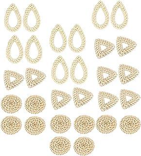 F Fityle 30PCS Natural Rattan Weave Wicker Earrings DIY Findings Jewelry Accessories