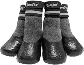 BINGPET Dog Socks for Hardwood Floors, Outdoor Anti Slip Waterproof Paw Protector with Reflective StrapsTraction Control