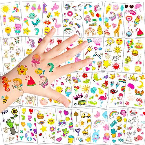 Konsait 340+ Temporäre Tattoos Aufkleber für Jungen Mädchen Kinder Geburtstag Gastgeschenke Mitgebsel, Einhorn Tier Regenbogen Herz Drache Monster Stern Planet Mond Frucht Tattoos für Kinde