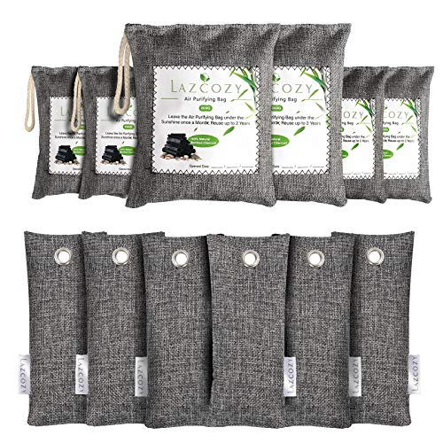 LAZCOZY Bamboo Charcoal Air Purifying Bag, 12 Pack Activated Charcoal Bags Odor Absorber, Closet Air Fresheners, Shoes Deodorizer, Odor Eliminators for Home, Pet, Car(2*200g, 4*100g, 6*50g)