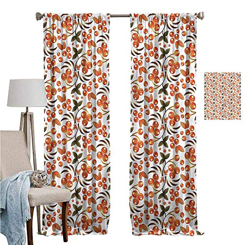 DRAGON VINES Blackout Curtains for Living Room-Decorative Curtains for Living Room Traditional W96 x L84,Rowans Russian Pattern Noise ReductionSet of 2 Panels