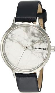 Skagen Women's Anita Stainless Steel Analog-Quartz Leather Strap, Blue, 14 Casual Watch (Model: SKW2719)