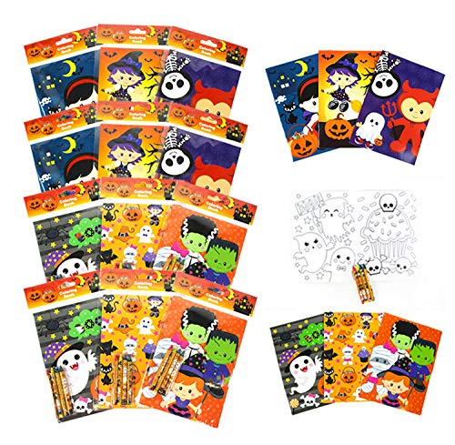 TINYMILLS Halloween Coloring Books for Kids with 12 Coloring Books and 48 Crayons, Fun Halloween Treats Party Favors, Halloween Prizes, Favor Bag Filler, Halloween Party Supplies