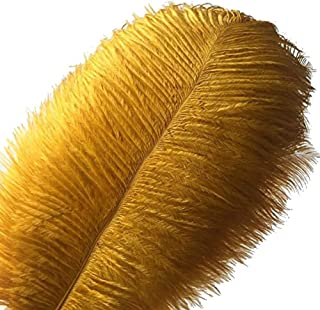 MELADY Pack of 100pcs Natural Ostrich Feathers 16-18inch(40~45cm) for Home Wedding Party Decoration (Gold)