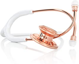MDF Rosegold MD One Stainless Steel Stethoscope, Adult, Free-Parts-for-Life, White Tube, Rosegold Chestpieces-Headset, MDF777RG29