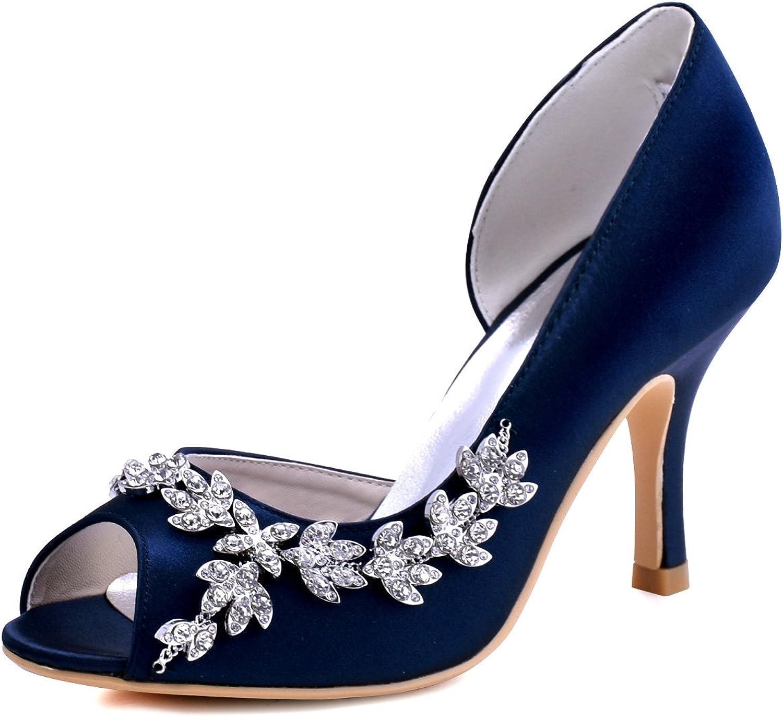 ElegantPark EL-005 Damen Peep Zehen Pumps d`orsay Satin Perlenschur Perlenschur Perlenschur Hochzeit Brautschuhe  6ec882