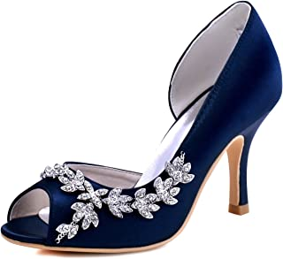 ElegantPark Women Peep Toe Rhinestones Pumps High Heel...