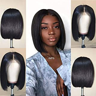 V SHOW Hair Lace Front Wigs Human Hair Malaysian Bob Straight Virgin Hair Pre Plucked Lace Wigs Natural Hairline with Baby Hair 8 Inches for Black Women
