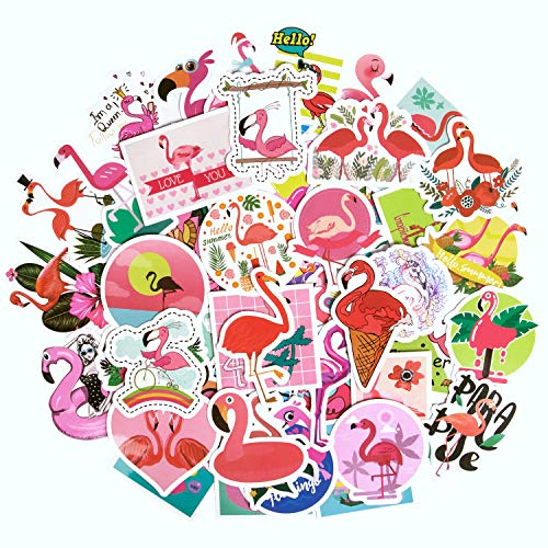 Flamingo Stickers, [50pcs]Laptop Stickers Cute Animal Stickers Waterproof Vinyl Stickers for Teens, Water Bottle Stickers Computer Stickers Skateboard Stickers for Laptop Guitar Bike Luggage Decal