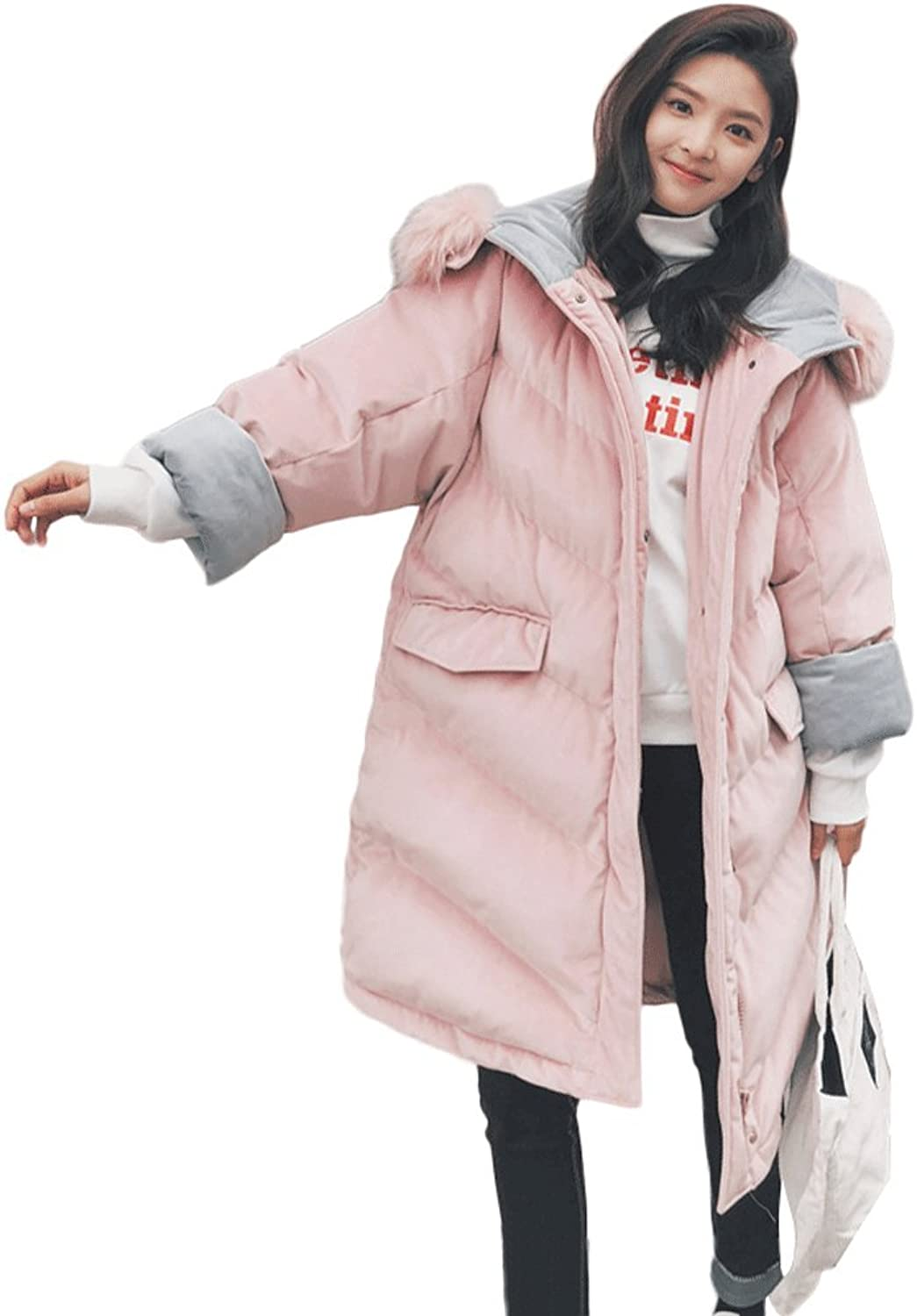 Women's Fashion Loose Hooded Wadded Jacket Winter Warm Thicken MidLength Coats (color   Pink, Size   S)