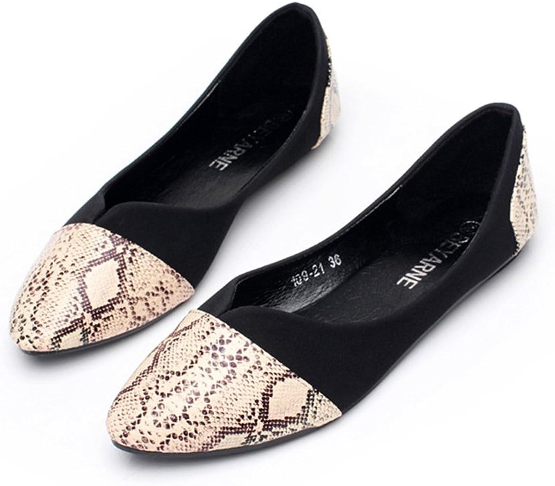 BININBOX Women's Fashion Snake Grain Suede Pointed Toe Flats