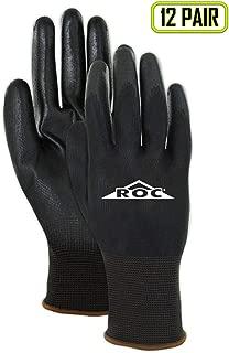 MAGID Mechanics Work Gloves | Coated Mechanic Gloves for Work - Mens & Womens - Black/Black - Size 6 (XS) - 12 Pair