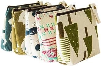 BIGBOBA 5 Stück Mini-Taschen, Segeltuch, Geldbörse, Damen-Geldbeutel, Aufbewahrungstasche für Münzen, Schlüssel, Headset, Lippenstift, Karten