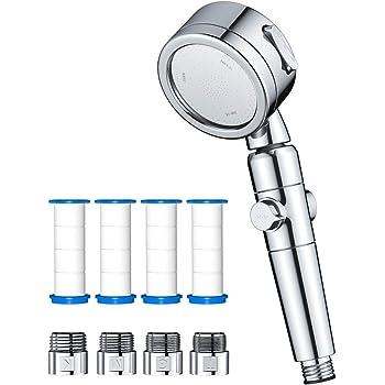 シャワーヘッド Fohil 2020年新版 節水シャワー 不純物除去 浄水 高水圧 3段階モード 水量調整 漏水防止 手元止水 増圧 360°度回転 軽量 フィルター 国際汎用基準G1/2 付属アダプター4種類