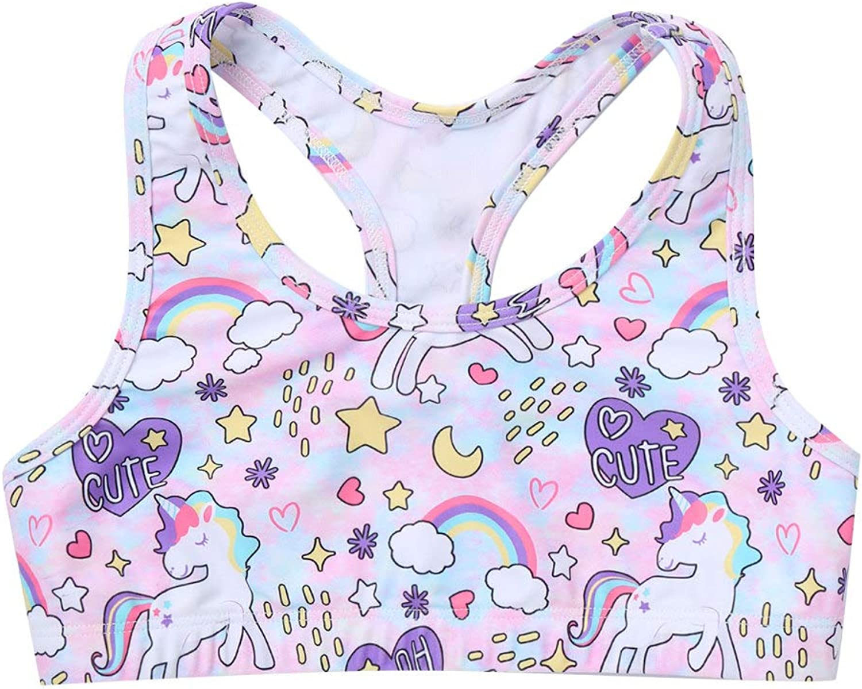 TTAO Kids Girls Printed Sleeveless Crop Top Racer Back Yoga Sports Bra for Dance Gymnastics Workout Sportwear