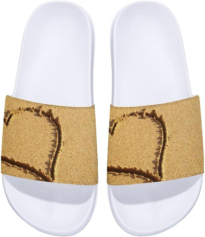 Yellow Beautiful Heart Drawn Men's and Women's Comfort Slide Sandals Indoor Outdoor