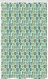 ABAKUHAUS Flip Flops Schmaler Duschvorhang, Exotische Naturfarben, Badezimmer Deko Set aus Stoff mit Haken, 120 x 180 cm, Hellgrün Hellblau & Teal