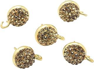 PH PandaHall 20 PCS(10 Pairs) Brass Rhinestone Ear Stud, Flat Round Bezel Tray Blank Cabochon Setting Earring Posts, Gold, 14x10mm
