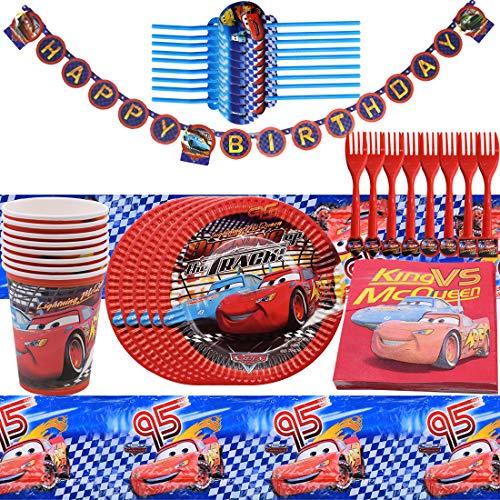 Fiesta de cumpleaños para Auto Suministros para niños con Decoración de Fiesta de Cumpleaños Apoyo para Celebración Pancarta Platos Vasos Servilletas y Mantel Resistente, 50pcs
