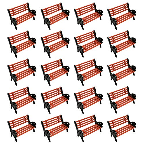 HAMILO 公園 ベンチ ジオラマ 遊園地 テーマパーク ミニベンチ ジオラマ用ベンチ 1/150 (20点セット)