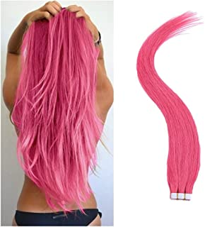 TheFashionWay Brazilian Human Hair Extensions Tape in Silky Straight Weft Remy Virgin Hair (16 inches, Pink)