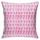 Melinde Pink Roller Rabbit Monkeys Pillow Case Square Soft Pillowcase Throw Pillow Cover Home Decor for Living Room Sofa Car Cushion Cover 18'X 18'