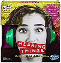 Lip-reading challenge game Take turns wearing speech-cancelling electronic headphones Includes 150 cards with 600 phrases Includes 1 set of game headphones with built-in sounds and timer, 150 cards, and game guide.