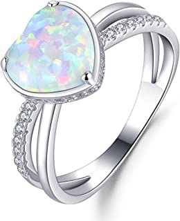 FANCIME 925 Sterling Silver Heart Shaped Created White Fire Opal Halo CZ Cubic Zirconia Statement Criss Cross Ring Jewelry for Women Girls, Size 5,6,7,8