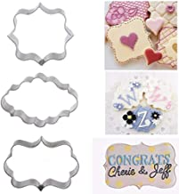 DishyKooker Household 3 Pcs/Set Stainless Steel Fancy Plaque Frame Cake Mold Fondant Mould Cookie Cutter Silver