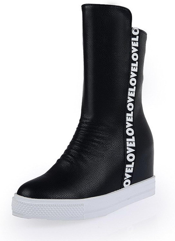 WeenFashion Women's Blend Materials Round Closed Toe Kitten-heels Boots