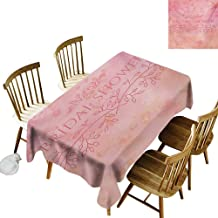 Cranekey Spotted Rectangular Tablecloth W50 x L80 Bridal Shower Bride Invitation Grunge Abstract Backdrop Floral Design Print Pale Pink and Salmon for Home Party Wedding & More