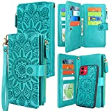 Harryshell Detachable Magnetic Zipper Wallet Leather Case Cash Pocket with 12 Card Slots Holder Wrist Strap for iPhone 11 Pro 5.8 inch 2019 Floral Flower (Blue Green)