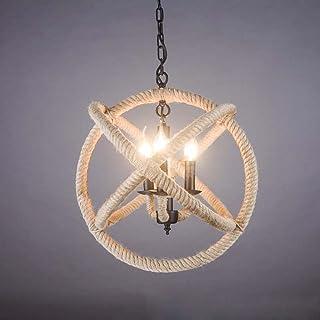 BJLWT Hemp Rope Ball Iron Chandelier- Diameter 35/43/53cm,Loft Restaurant Living Room Bedroom Pendant Light (Size : 35cm)
