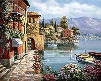 番号キットでペイント 油絵 数字キットによる絵画 塗り絵 手塗り DIY絵 デジタル油絵40x50 センチ(フレームレス)-家とボート