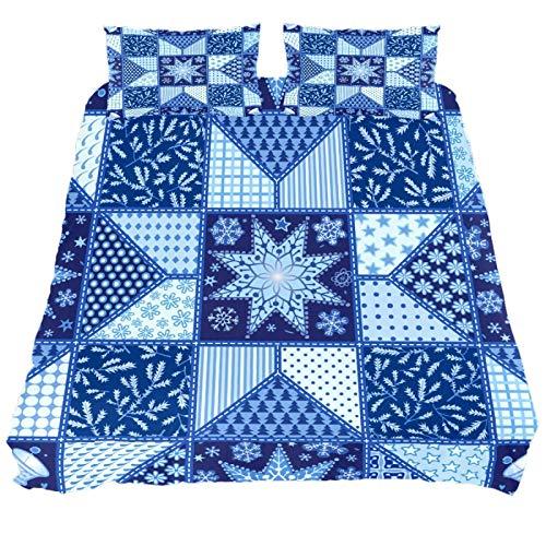 267 JlOn Microfiber Duvet Cover Sets 3 Pieces (2 Pillowcase,1 Duvet Cover) Christmas Holiday Blue Decorative Bedroom Double