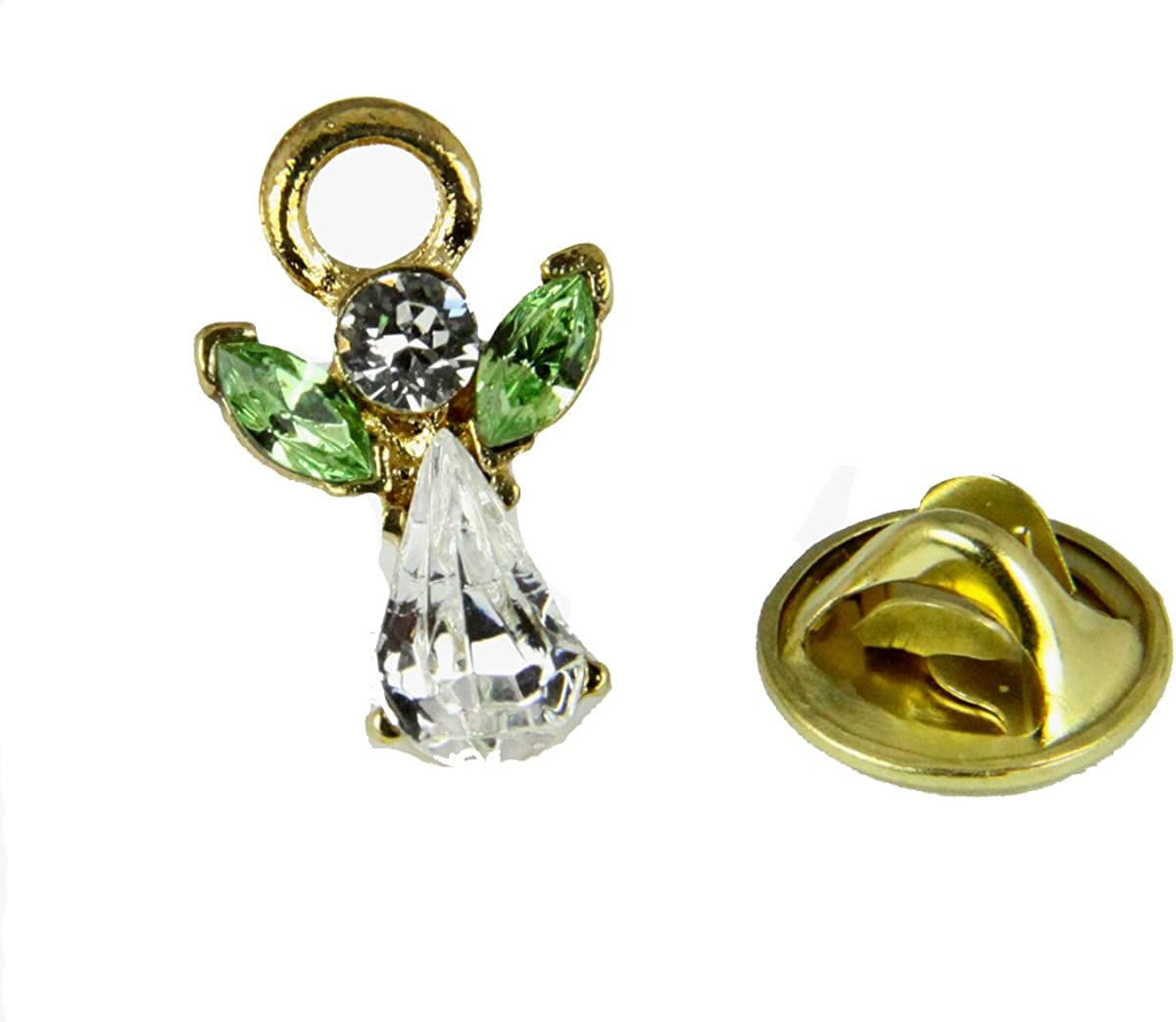 6030604 August Crystal Birth Month Angel Pin Guardian Lapel Brooch Tie Tack