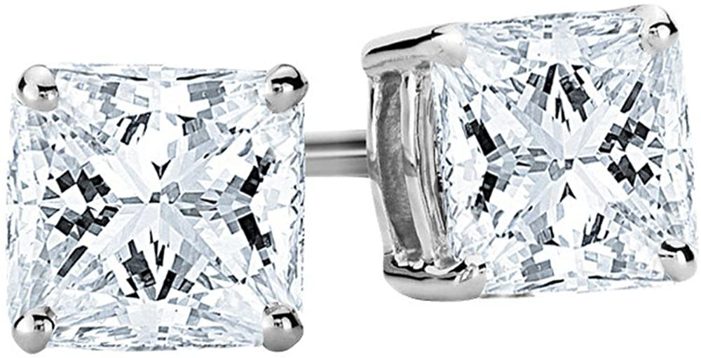 1 2-2 Carat Luxury goods Free shipping / New Total Weight Princess 4 Earrings Stud Diamond Prong