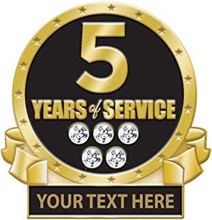 5 Years of Service Pin, 5 Years Award Pin with Rhinestones, Engraving Included