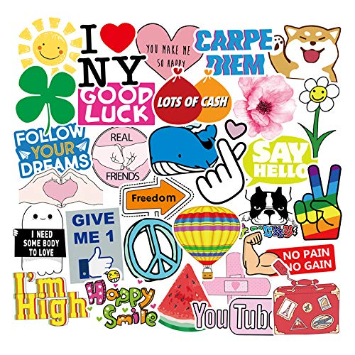 CHNLML Cool Sticker Stickers for Water Bottles Big 100pcs-Pack Cute,Waterproof,Aesthetic,Trendy Stickers for Teens,Girls Perfect for Waterbottle,Laptop,Phone,Travel Extra Durable (Cute100pcs)
