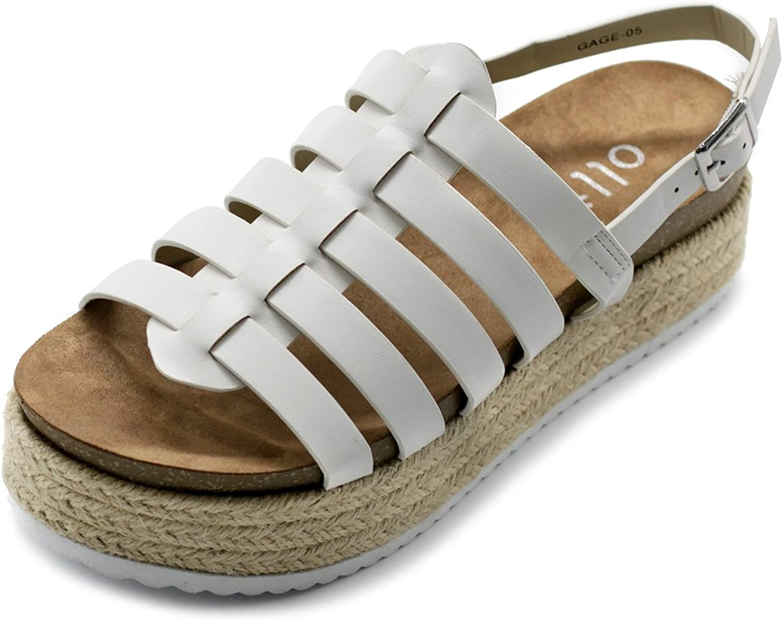 Ollio Women's shoes Gradiator Boho Sling Back Espadrilles Platform Sandals
