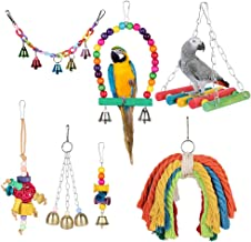 YOUTHINK Birds Swing Toys, 7 Pcs Colorful Parrots Chewing Hanging Hammock Swing Perches Pet Bird Hanging Bell Tearing Toys for Parakeets Cockatiels, Conures, Macaws, Parrots, Love Birds, Finches