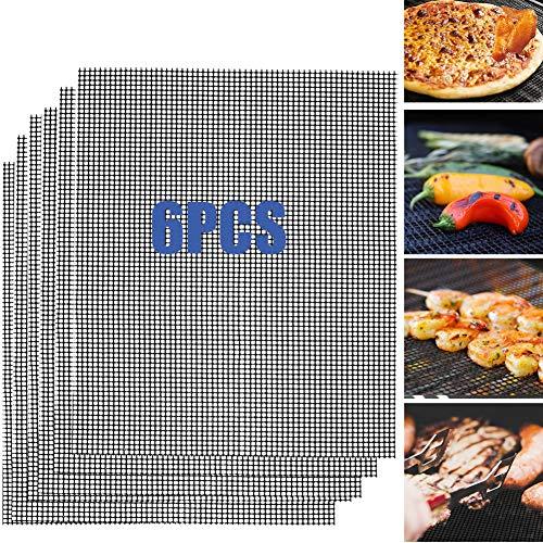 Nifogo BBQ Grill Mat, Tappetino a Rete Barbecue, Rettangolare, Antiaderente Resistente Riutilizzabile Lavastoviglie e Facile da Pulire, Con Rivestimento Antiaderente 42 * 36 cm(6PCS)