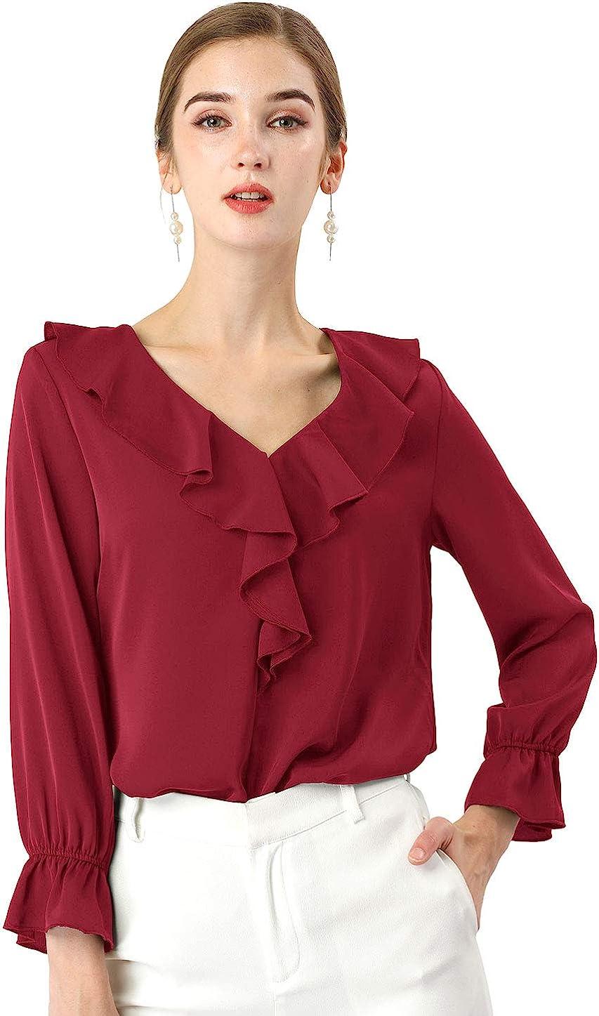 Allegra K Women's Peasant Top Office Work Chiffon Ruffle Neck Vintage Blouse
