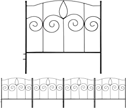 Gray Bunny Decorative Garden Fence for Landscaping, 24 in x 10 ft, 5 Black Panels, Rust Proof Metal Movable Wire Border Pi...