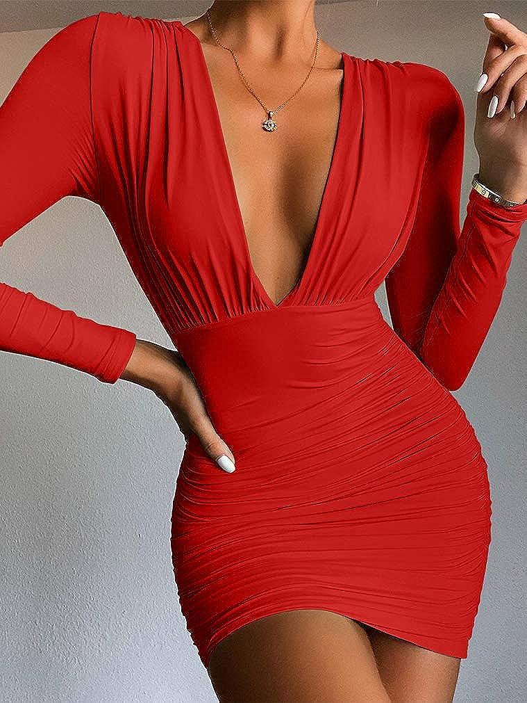 LAGSHIAN Women's Sexy Bodycon Long Sleeve V Neck Ruched Mini Club Dress