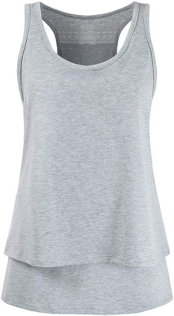 Mitlfuny Ropa premam/á Tops Mujeres Embarazadas Maternidad Color S/ólido Doble Capa Camisa Lactancia Camiseta Verano Enfermer/ía Embarazada Sin Manga Elasticidad Embarazo Chaleco Blusa