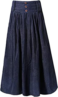 Women's Wide Waistband A-Line Pleated Big Hem Denim Jean Maxi Long Skirt