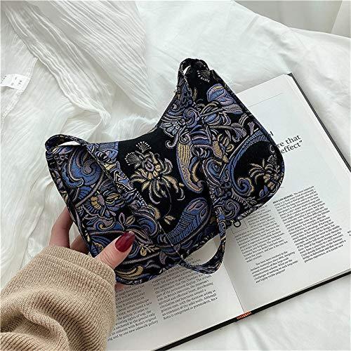 IJKLMNOP Retro Underarm Bag Womens Retro Womens Vintage Cashew Flowers Printed Handbags Cross-Body Bags Fashion Shoulder Bag PU Leather Bag Nylon Canvas Baguette Bag Gifts for Mother Ladies Girls